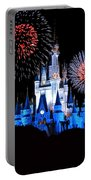 Magic Kingdom Castle In Blue With Fireworks Portable Battery Charger