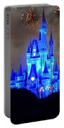 Magic Kingdom Castle In Deep Blue With Fireworks Portable Battery Charger