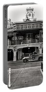 Magic Kingdom Train Station In Black And White Walt Disney World Portable Battery Charger
