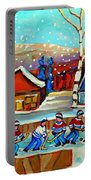 Magical Pond Hockey Memories Hockey Art Snow Falling Winter Fun Country Hockey Scenes  Spandau Art Portable Battery Charger