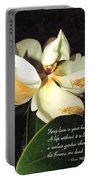 Magnolia Blossom In All Its Glory - Keep Love In Your Heart Portable Battery Charger