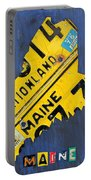 Maine License Plate Map Vintage Vacationland Motto Portable Battery Charger