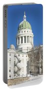 Maine State Capitol Building In Winter Augusta Portable Battery Charger