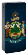 Maine State Flag Art On Worn Canvas Portable Battery Charger