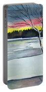 Maine Winter Sunset Portable Battery Charger