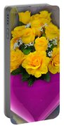 Majenta Heart Vase With Yellow Roses Portable Battery Charger
