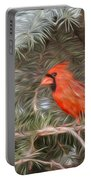 Male Cardinal In Spruce Tree Portable Battery Charger