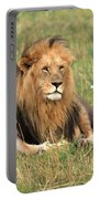 Male Lion On The Masai Mara Portable Battery Charger by Aidan Moran