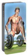 Male Musculature Looking At A Dumbbell Portable Battery Charger