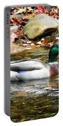 Mallard Duck In The River Portable Battery Charger