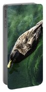 Mallard Duck On Green Pool Portable Battery Charger