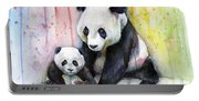 Panda Watercolor Mom And Baby Portable Battery Charger