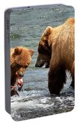 Mama And Baby Grizzly Bear At The Falls Portable Battery Charger