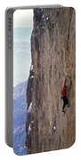 Man In A Red Shirt Lead Climbing Portable Battery Charger by Corey Rich