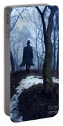 Man In Top Hat Walking Through Foggy Woods Portable Battery Charger