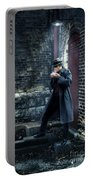 Man In Trenchcoat Lighting A Cigarette Portable Battery Charger