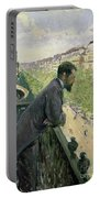 Man On A Balcony Portable Battery Charger by Gustave Caillebotte