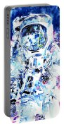 Man On The Moon - Watercolor Portrait Portable Battery Charger