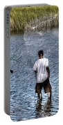 Man Throwing Cast Net Portable Battery Charger