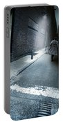 Man Walking Down A Dark Alley Portable Battery Charger