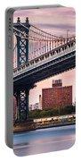 Manhattan Bridge Under A Purple Sunset Portable Battery Charger