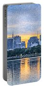 Manhattan Skyline From Central Park Reservoir Nyc Usa Portable Battery Charger