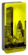 Manhattan Skyline In Yellow Portable Battery Charger