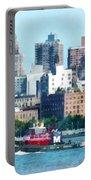 Manhattan - Tugboat Against Manhattan Skyline Portable Battery Charger