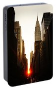 Manhattanhenge Sunset And The Chrysler Building  Portable Battery Charger
