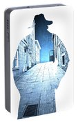 Man's Profile Silhouette With Old City Streets Portable Battery Charger
