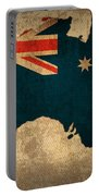 Map Of Australia With Flag Art On Distressed Worn Canvas Portable Battery Charger