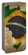 Map Of Brazil With Flag Art On Distressed Worn Canvas Portable Battery Charger by Design Turnpike