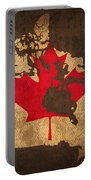 Map Of Canada With Flag Art On Distressed Worn Canvas Portable Battery Charger