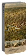 Map Of Houston Texas Circa 1891 On Worn Distressed Canvas Portable Battery Charger