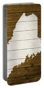 Map Of Maine State Outline White Distressed Paint On Reclaimed Wood Planks. Portable Battery Charger