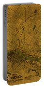 Map Of Portland Oregon City Street Schematic Cartography Circa 1924 On Worn Parchment  Portable Battery Charger