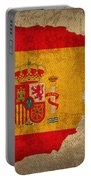 Map Of Spain With Flag Art On Distressed Worn Canvas Portable Battery Charger