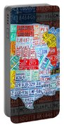 Map Of The United States In Vintage License Plates On American Flag Portable Battery Charger by Design Turnpike
