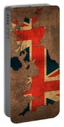 Map Of United Kingdom With Flag Art On Distressed Worn Canvas Portable Battery Charger