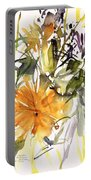 Marigold And Other Flowers Portable Battery Charger