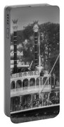 Mark Twain Riverboat Frontierland Disneyland Vertical Bw Portable Battery Charger