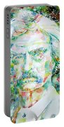 Mark Twain - Watercolor Portrait Portable Battery Charger by Fabrizio Cassetta