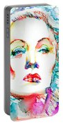Marlene Dietrich - Colored Pens Portrait Portable Battery Charger