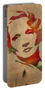 Marlene Dietrich Movie Star Watercolor Painting On Worn Canvas Portable Battery Charger