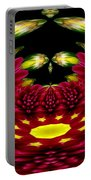 Maroon And Yellow Chrysanthemums Polar Coordinates Effect Portable Battery Charger