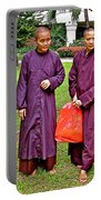 Maroon-robed Monks At Buddhist University In Chiang Mai-thailand Portable Battery Charger
