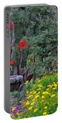 Garden Fountain And Flowers Portable Battery Charger