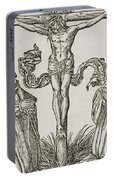 Martin Luther And Frederick IIi Of Saxony Kneeling Before Christ On The Cross Portable Battery Charger