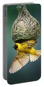 Masked Weaver At Nest Portable Battery Charger by Johan Swanepoel