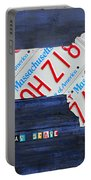 Massachusetts License Plate Map Portable Battery Charger